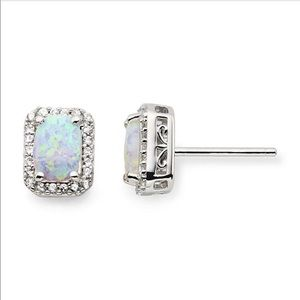 Lab-Created Opal and White Sapphire Stud Earrings